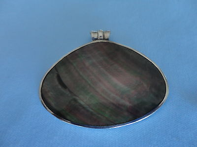 Vintage Silver 925 Large Beautiful Abalone Shell Pendant  13.9 Grams Unique
