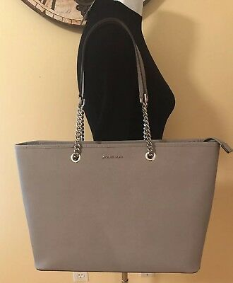 NWT MICHAEL KORS Jet Set Travel Chain MD TZ Mult Funt Leather Tote Pearl  Grey ce8ae6468e497