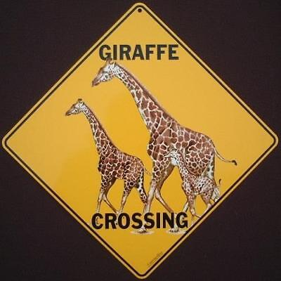 GIRAFFE CR0SSING Sign aluminum picture decor novelty giraffes signs wildlife