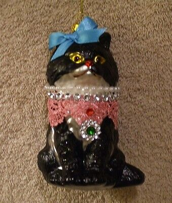 Glass Black Cat w/Necklace Christmas Ornament - New