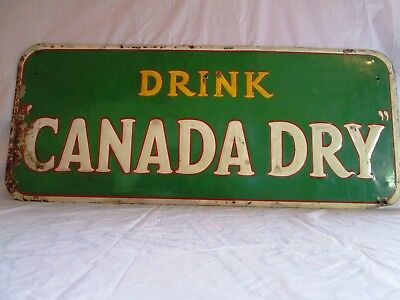 "RARE VINTAGE 1940's CANADA DRY SODA POP GAS STATION 30"" METAL EMBOSSED SIGN."