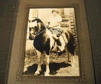 Antique/Vintage Photo ca. 1930s Young Girl on Pony (OL34)