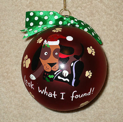 Large RED BALL w/DOG Christmas Ornament - LOOK WHAT I FOUND! - NEW