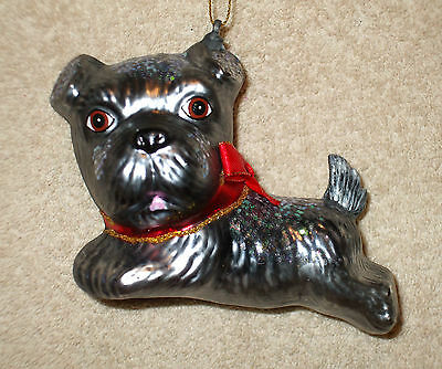 Glass LEAPING SCHNAUZER PUPPY w/RED BOW Christmas Ornament - NEW