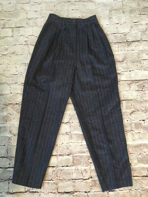 vtg 80s Benetton wool high waist PLEATED trouser pants tapered grey blue striped
