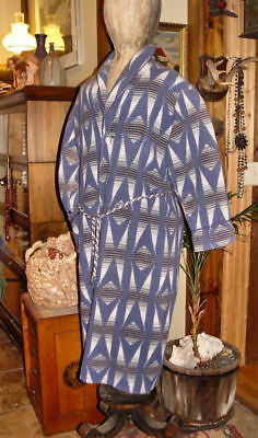 Mens Vintage Clothing Blue 1940's Beacon Bathrobe ~ Cabin Navajo Southwester S