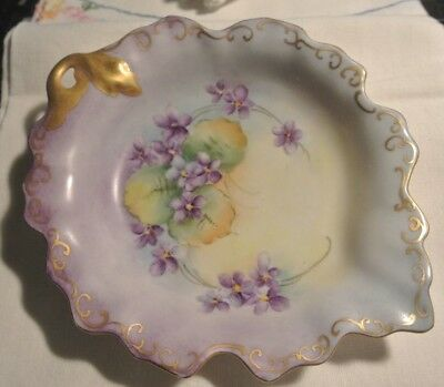 Vintage Hand Painted Leaf Dish with Violets and Gold Trim Schumann Germany
