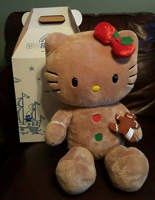 NEW GINGERBREAD HELLO KITTY Build A Bear Plush With Bow, Cookie AND MUSIC ! !