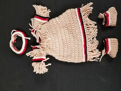 Crochet tan black red white native American Indian 4pc dress hand made vintage