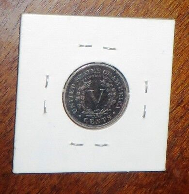 """Rare Old Antique Coin - FINE DETAILS 1899 w CENTS, LIBERTY HEAD """"V"""" NICKEL"""