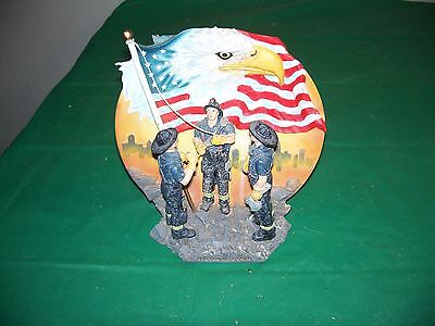 3-D Fireman Tribute United We Stand Collectors Plate Bald Eagle & American Flag