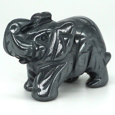 "2"" Iron Ore Elephant Statue Natural Gemstone Lucky Animals Figurines Ornaments"
