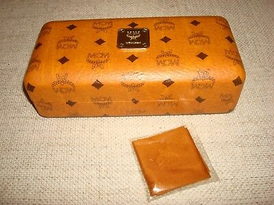 MCM Sunglasses Brown Monogram Hard Clam Shell Case & Cleaning Cloth