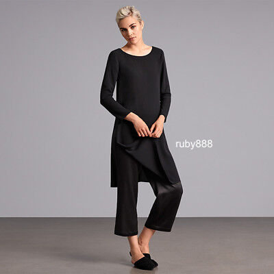 Eileen Fisher M L Silk Satin Cropped Straight Leg Pant Black $258 Nwt