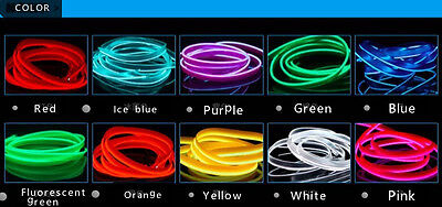 3M Decor 12V Car Interior Neon LED Light Glow EL Wire String Strip Rope Tube
