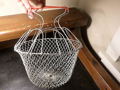 Vintage Collapsible  Metal Wire Mesh Egg Basket Red Handle