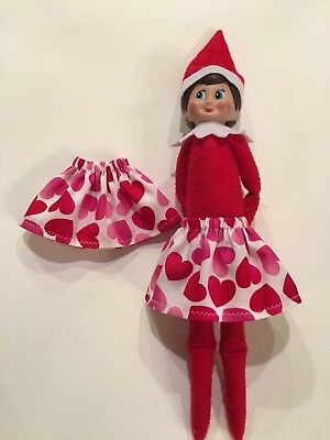 Christmas Elf Girl Doll Skirt Valentines Day Red & Pink Hearts On White Cotton