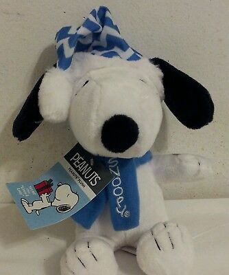"""Peanuts 8"""" Plush Musical Winter Snoopy with Hat & Scarf official dandee NWT"""