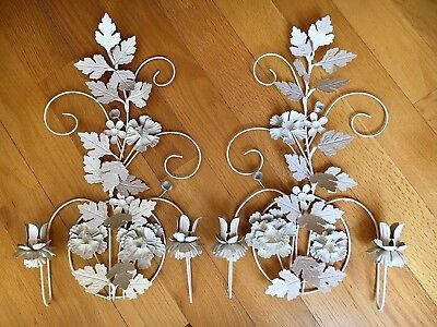 TOLE TIN Ware CANDLE HOLDER WALL SCONCE SET PAIR 2 Chic Shabby White Decor ITALY