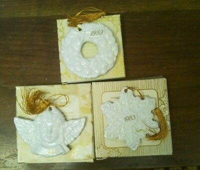 Avon Christmas Remembrance Ornaments 1980 Wreath 1982 Angel 1983 Snowflake