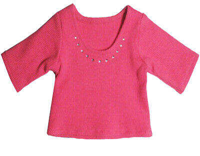 Hot Pink Top with Rhinestone Trim Fits 18 inch American Girl Doll