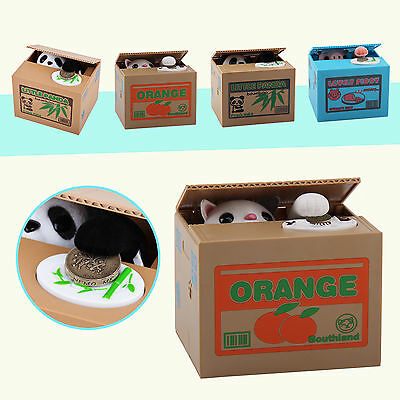 New Piggy Bank PANDA Cat Steal Money Coin Saving Box Pot Storage Xmas Kids Gift