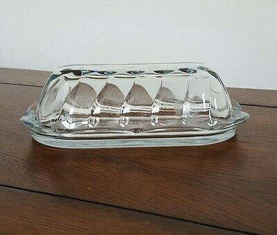 Anchor Hocking Clear Glass Covered Butter Dish