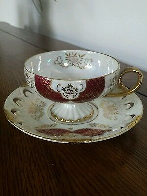 Vintage Royal Sealy China Tea Cup and Saucer Iridescent Cut Out Saucer