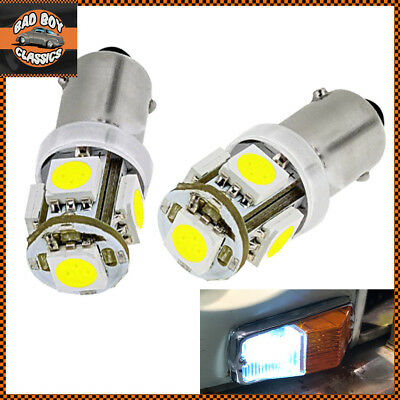 x2 12V BA9S 5 LED 5050SMD Sidelight Bulbs Bright White GLB233 CLASSIC CARS