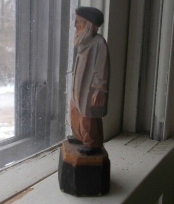 "Antique Hand Carved Wood Folk Art Old Man 3 1/2""Tall Jewish Or Russian?"