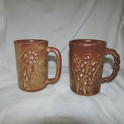 Vintage Set of 2 Signed Vallauris French Art Pottery Mugs, Floral Terra Cotta