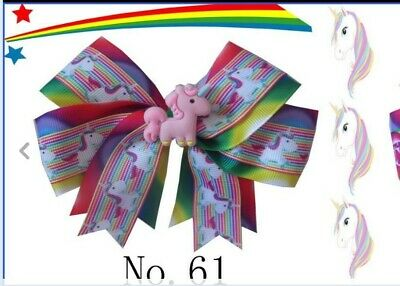 "20 BLESSING Girl 4.5"" Two Tone Cheer Hair Bow Clip Rainbow Unicorn Pony Hairbow"