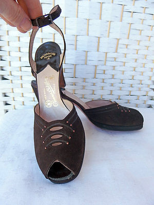 Vtg NOS 1940s/50S Brown Suede Stud Cutout Peeptoe Platform PIN UP Heels 8/8.5N