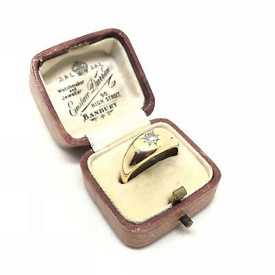 Antique Vintage Old Cut Diamond 18ct Yellow Gold Gypsy Ring Circa 1920 Size P