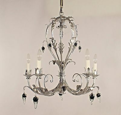 5 Light Italian Silver Leaf Wrought Iron Chandelier w/ Murano Glass Pendants