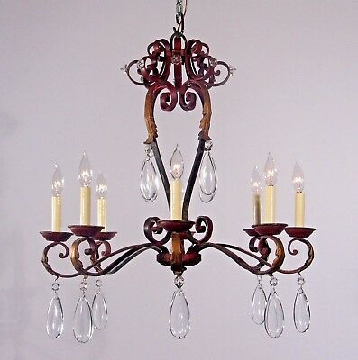 Antique French 8 Light Red & Gold Leaf Wrought Iron Chandelier circa 1920's