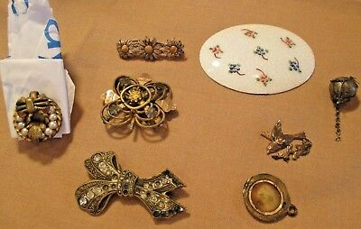 """MIXED LOT of VICTORIAN """"PIECES"""" REPAIR or PARTS BROOCHES ENAMEL SILVER GOLD GILT"""