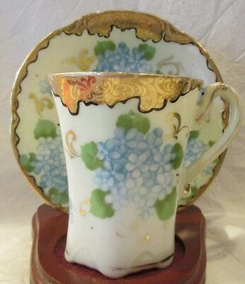 Beautiful Vintage Bone China Hand Painted Forget Me Not Gold Trim Cup & Saucer