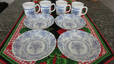 Arcopal France Honorine Coupe Soup Cereal Bowls and Cups Set of  4 each
