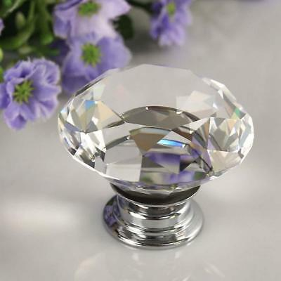 Diamond Clear Crystal Glass Door Pull Drawer Knob Handle Cabinet Furniture UP