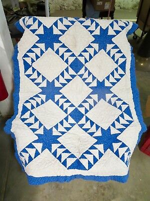 "BEAUTIFUL HANDMADE Blue & White Patchwork Baby Quilt - 50"" x 38"""