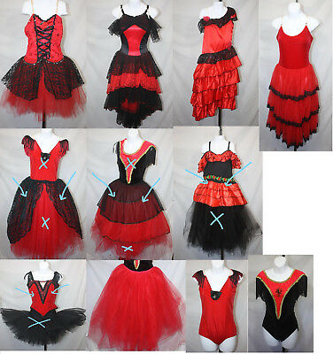 Red and Black Tutus Nutcracker Ballet Dance Costumes Halloween Dancewear Recital