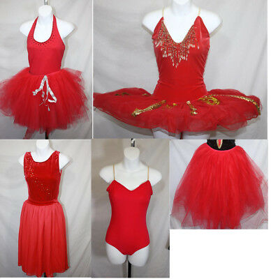 Red Leos and Skirts Dance Costumes, Romantic, Platter, Tutu, Halloween, Recital
