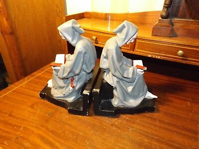 Antique Cast Iron Gothic Hand Painted MEDIEVAL MONK FRIAR BOOK ENDS RARE