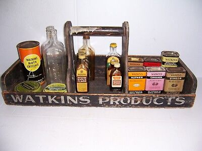 Antique Vintage Watkins Products Wooden Salesman Tote w/ Glass Bottles Tin Cans