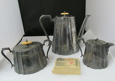 Sheffield Art Deco Silverplate Coffee Set Service Pot  One Penny Revenue  Stamp