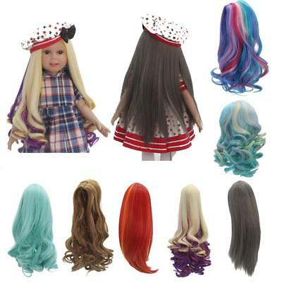 """Long Fluffy Wavy/Straight Hair Wig for 18"""" American Girl Doll Making Repair ACCS"""