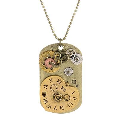 Antique Steampunk Necklace Victorian Watch Parts Gear Tag Pendant Necklace