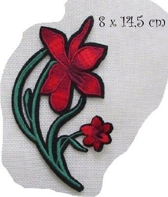 C5632 / TIGE FLEUR ROUGE ** 8 x 14,5 cm **  APPLIQUE ÉCUSSON PATCH THERMOCOLLANT