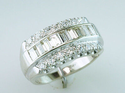 Vintage Antique 1.50ct Diamond 14K White Gold Art Deco Cocktail Ring Band